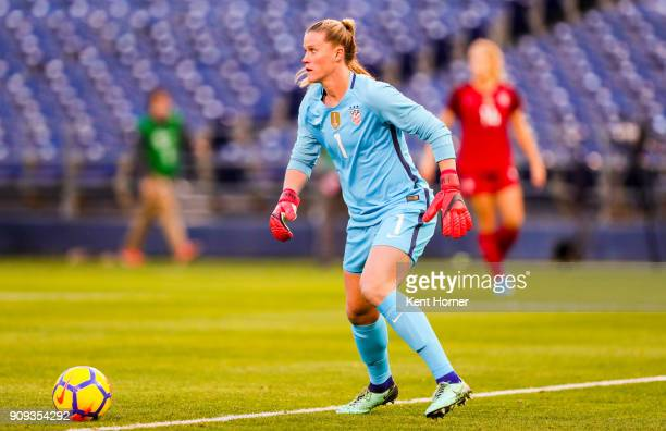 Goalkeeper Alyssa Naeher of the US women's national team passes the ball during the first half against the Danish women's national team at SDCCU...