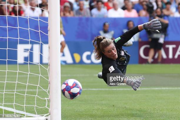 Goalkeeper Alyssa Naeher of the USA makes a save during the 2019 FIFA Women's World Cup France Final match between The United State of America and...