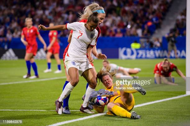 Goalkeeper Alyssa Naeher of United States defends the ball during the 2019 FIFA Women's World Cup France Semi Final match between England and USA at...
