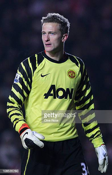 Goalkeeper Anders Lindegaard of Manchester United looks on during the FA Cup sponsored by EON 4th Round match between Southampton and Manchester...