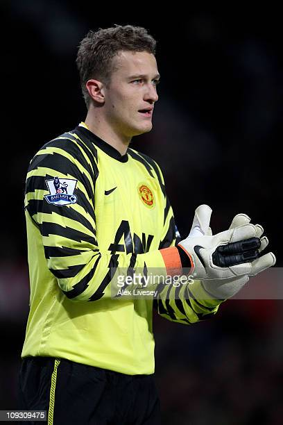 Goalkeeper Anders Lindegaard of Manchester United looks on during the FA Cup sponsored by EON 5th round match between Manchester United and Crawley...