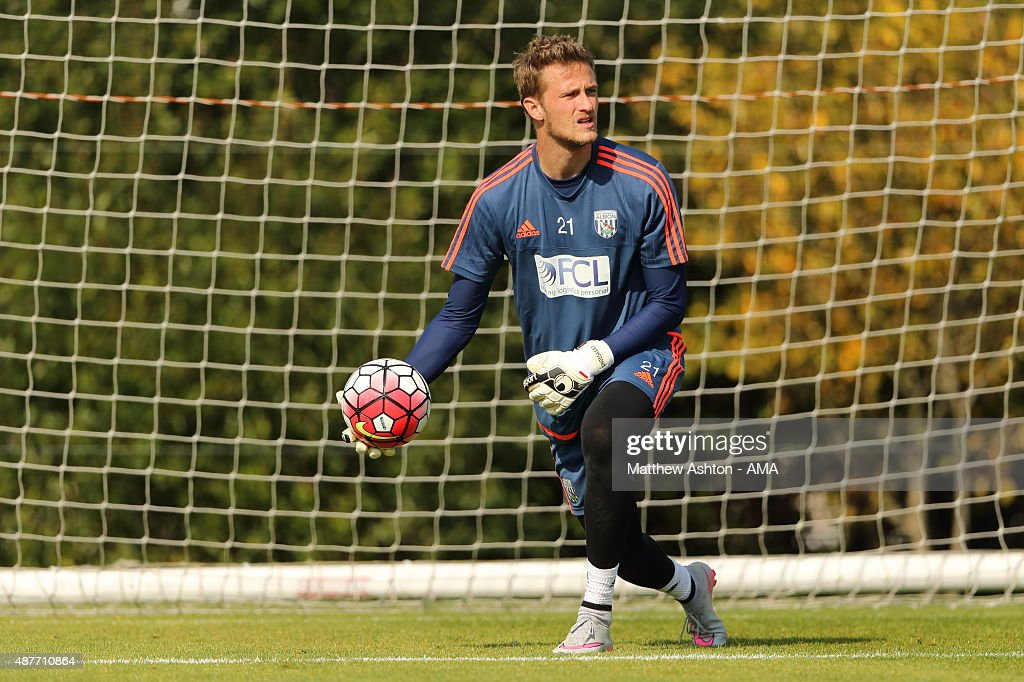 Goalkeeper Anders Lindegaard of West Bromwich Albion during the West Bromwich Albion training session at West Bromwich Albion Training Ground on September 10, 2015 in Walsall, England.