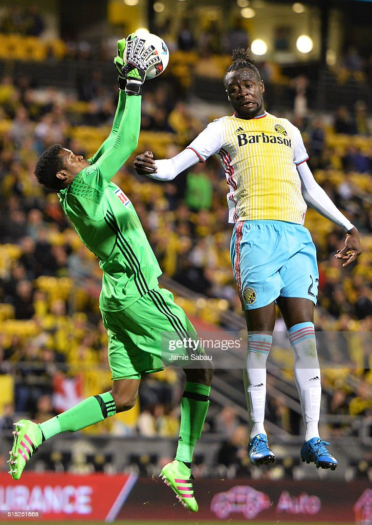 Goalkeeper Andre Blake #1 of the Philadelphia Union grabs control of the ball as Kei Kamara #23 of the Columbus Crew SC leaps in to attempt to head the ball in the second half on March 12, 2016 at MAPFRE Stadium in Columbus, Ohio. Philadelphia defeated Columbus 2-1.