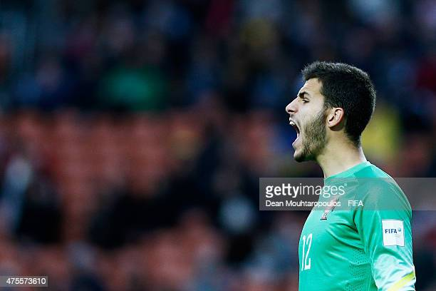 Goalkeeper Andre Moreira of Portugal screams to his team mates during the FIFA U20 World Cup New Zealand 2015 Group C match between Portugal and...