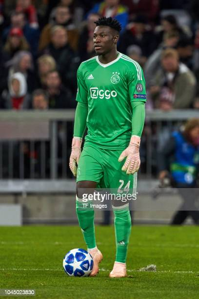 Goalkeeper Andre Onana of Ajax Amsterdam looks on during the Group A match of the UEFA Champions League between Borussia Dortmund and AS Monaco at...