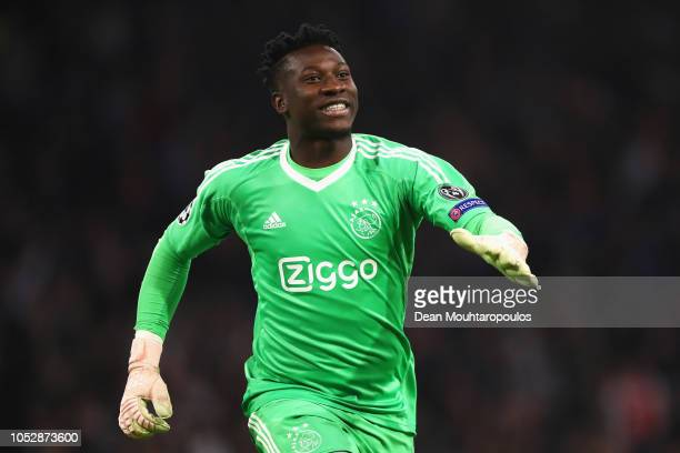 Goalkeeper Andre Onana of Ajax celebrates after Noussair Mazraoui of Ajax scores his team's first goal during the Group E match of the UEFA Champions...