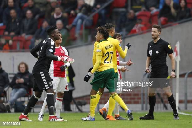 goalkeeper Andre Onana of Ajax David Neres of Ajax Trevor David of ADO Den Haag Tyronne Ebuehi of ADO Den Haag Nico Tagliafico of Ajax referee Pol...