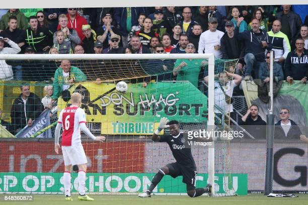 goalkeeper Andre Onana of Ajax Donny van de Beek of Ajax during the Dutch Eredivisie match between ADO Den Haag and Ajax Amsterdam at Car Jeans...