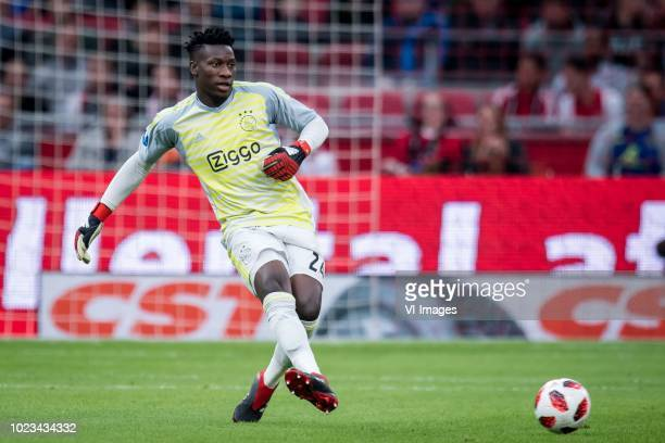 goalkeeper Andre Onana of Ajax during the Dutch Eredivisie match between Ajax Amsterdam and FC Emmen at the Johan Cruijff Arena on August 25 2018 in...