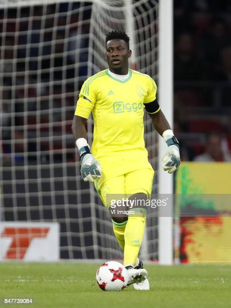 goalkeeper Andre Onana of Ajax during the Dutch Eredivisie match between Ajax Amsterdam and PEC Zwolle at the Amsterdam Arena on September 09 2017 in...