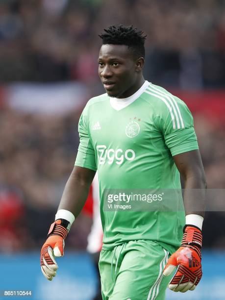 goalkeeper Andre Onana of Ajax during the Dutch Eredivisie match between Feyenoord Rotterdam and Ajax Amsterdam at the Kuip on October 22 2017 in...