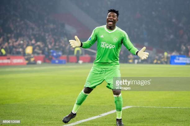 goalkeeper Andre Onana of Ajax during the Dutch Eredivisie match between Ajax Amsterdam and PSV Eindhoven at the Amsterdam Arena on December 10 2017...