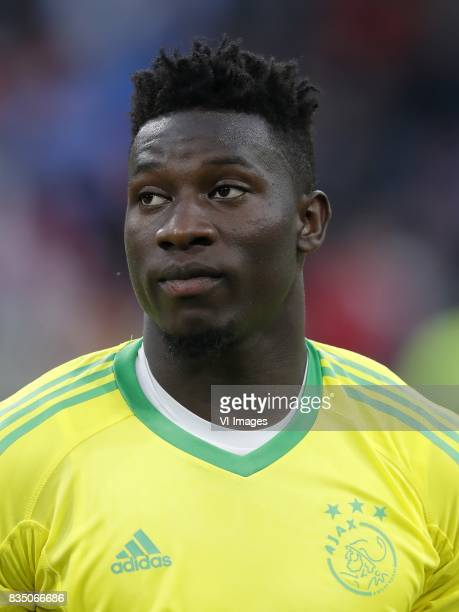 goalkeeper Andre Onana of Ajax during the UEFA Europa League fourth round qualifying first leg match between Ajax Amsterdam and RosenBorg BK at the...