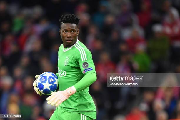 Goalkeeper Andre Onana of Ajax holds the ball in his hand during the Group E match of the UEFA Champions League between FC Bayern Muenchen and Ajax...