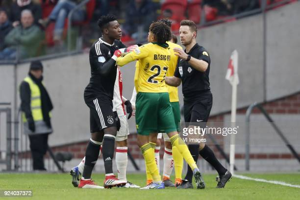 goalkeeper Andre Onana of Ajax Trevor David of ADO Den Haag Tyronne Ebuehi of ADO Den Haag referee Pol van Boekel during the Dutch Eredivisie match...