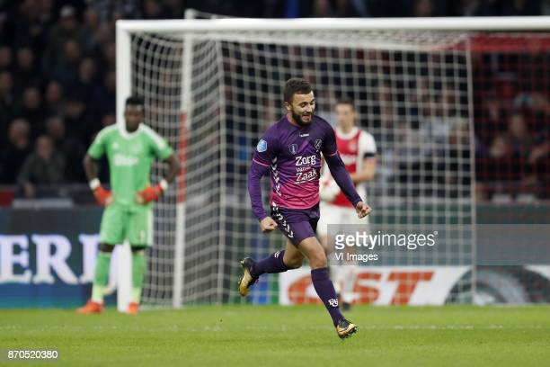 goalkeeper Andre Onana of Ajax Zakaria Labyad of FC Utrecht Nick Viergever of Ajax during the Dutch Eredivisie match between Ajax Amsterdam and FC...