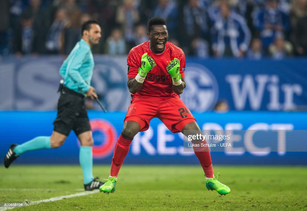 Goalkeeper Andre Onana of Amsterdam celebrates after the UEFA Europa League quarter final second leg match between FC Schalke 04 and Ajax Amsterdam at Veltins-Arena on April 20, 2017 in Gelsenkirchen, Germany.
