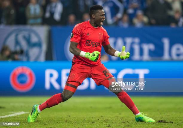 Goalkeeper Andre Onana of Amsterdam celebrates after the UEFA Europa League quarter final second leg match between FC Schalke 04 and Ajax Amsterdam...