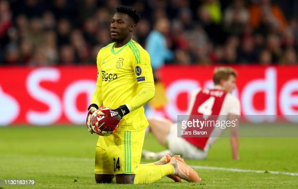 Goalkeeper Andre Onana of Amsterdam looks dejected during the UEFA Champions League Round of 16 First Leg match between Ajax and Real Madrid at Johan...