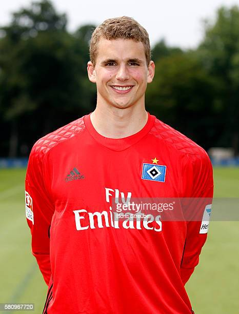 Goalkeeper Andreas Hirzel of Hamburger SV poses during the Hamburger SV Team Presentation at Volksparkstadion on July 25 2016 in Hamburg Germany