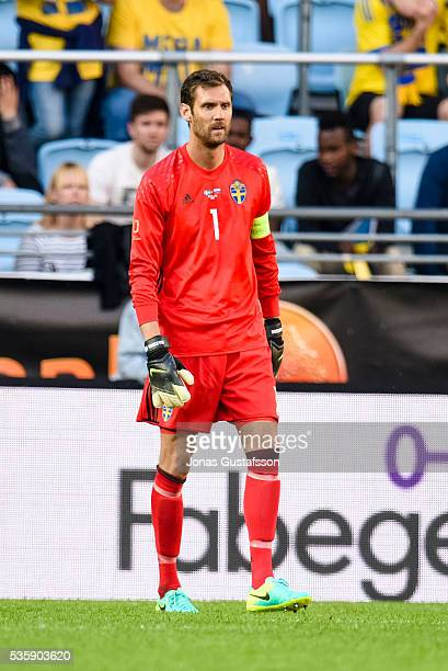 goalkeeper Andreas Isaksson of Sweden during the international friendly match between Sweden and Slovenia May 30 2016 in Malmo Sweden