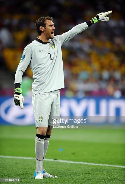 Goalkeeper Andreas Isaksson of Sweden gestures during the UEFA EURO 2012 group D match between Sweden and England at The Olympic Stadium on June 15...