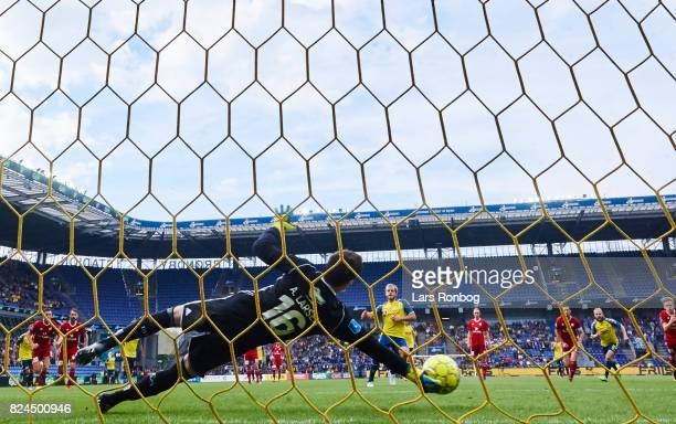 Goalkeeper Andreas Larsen of Lyngby BK saves the penalty shoot from Teemu Pukki of Brondby IF during the Danish Alka Superliga match between Brondby...