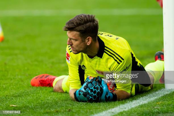 Goalkeeper Andreas Luthe of 1. FC Union Berlin in action during the Bundesliga match between 1. FC Union Berlin and VfL Wolfsburg at Stadion An der...