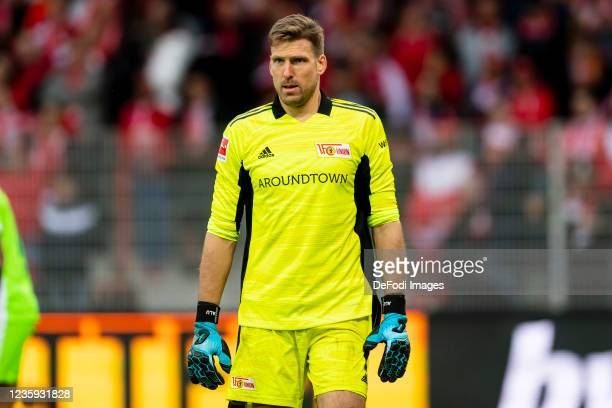 Goalkeeper Andreas Luthe of 1. FC Union Berlin looks on during the Bundesliga match between 1. FC Union Berlin and VfL Wolfsburg at Stadion An der...