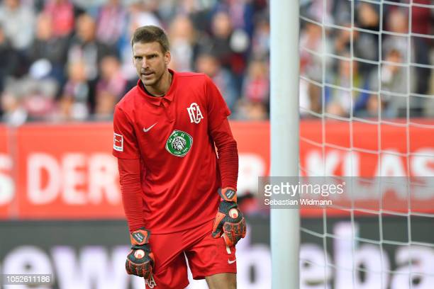 Goalkeeper Andreas Luthe of Augsburg looks on during the Bundesliga match between FC Augsburg and RB Leipzig at WWKArena on October 20 2018 in...