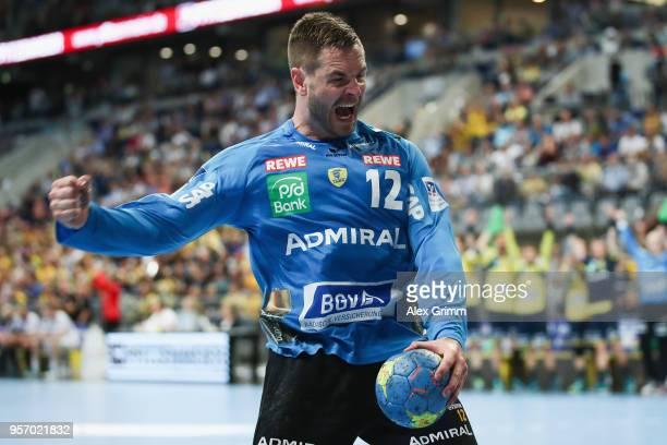 Goalkeeper Andreas Palicka of RheinNeckar Loewen celebrates after a save during the DKB HBL match between RheinNeckar Loewen and SC Magdeburg at SAP...