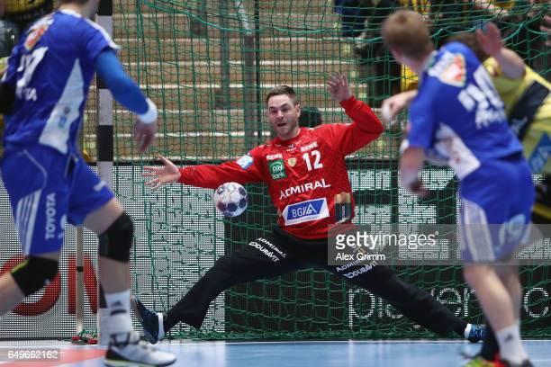 Goalkeeper Andreas Palicka of RheinNeckar Loewen makes a save during the EHF Champions League match between Rhein Neckar Loewen and MolPick Szeged at...