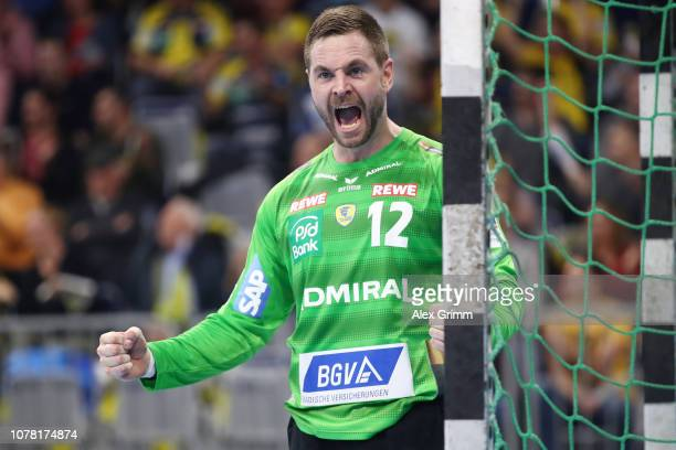 Goalkeeper Andreas Palicka of RheinNeckar Loewen reacts after a save during the DKB HBL match between RN Loewen and Scores a goal Magdeburg at SAP...