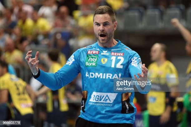 Goalkeeper Andreas Palicka of RheinNeckar Loewen reacts after a save during the DKB HBL match between RheinNeckar Loewen and DHfK Leipzig at SAP...