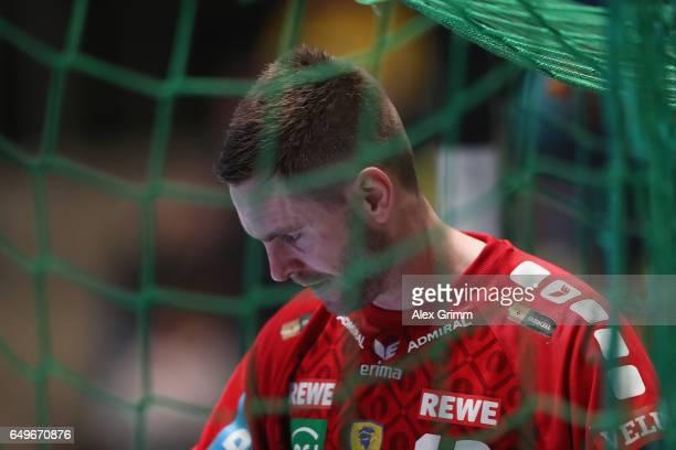 Goalkeeper Andreas Palicka of RheinNeckar Loewen reacts during the EHF Champions League match between Rhein Neckar Loewen and MolPick Szeged at...