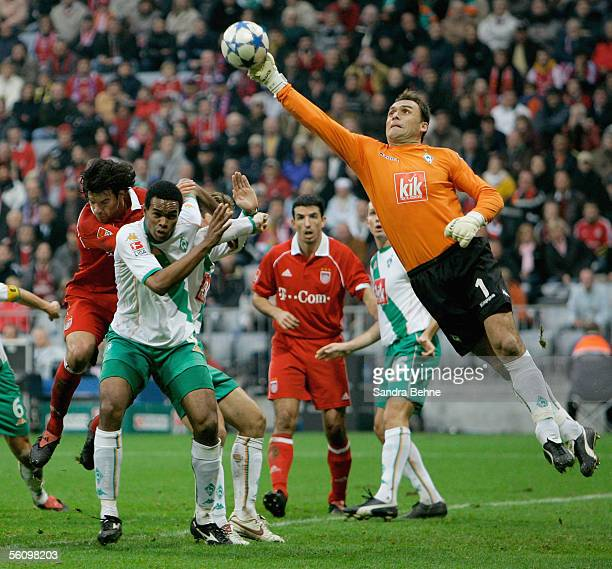 Goalkeeper Andreas Reinke of Bremen makes a save against Michael Ballack of Bayern Munich during the Bundesliga match between Bayern Munich and...