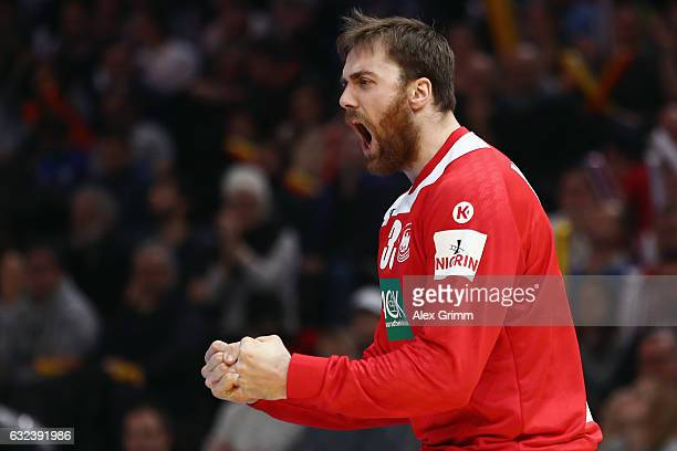 Goalkeeper Andreas Wolff of Germany reacts after a save during the 25th IHF Men's World Championship 2017 Round of 16 match between Germany and Qatar...