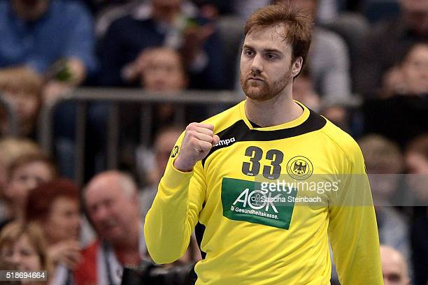 Goalkeeper Andreas Wolff of Germany reacts during the Handball international friendly match between Germany and Denmark at Lanxess Arena on April 2...