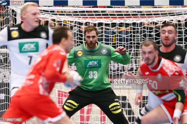 Goalkeeper Andreas Wolff of Germany reacts during the Men's EHF EURO 2020 main round group I match between Belarus and Germany at Wiener Stadthalle...
