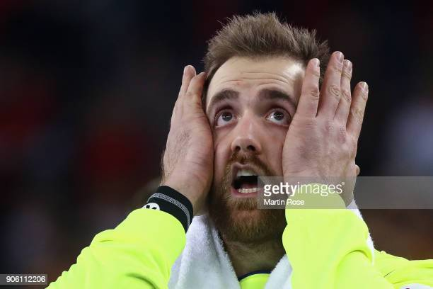 Goalkeeper Andreas Wolff of Germany reacts during the Men's Handball European Championship Group C match between Germany and FYR Macedonia at Arena...