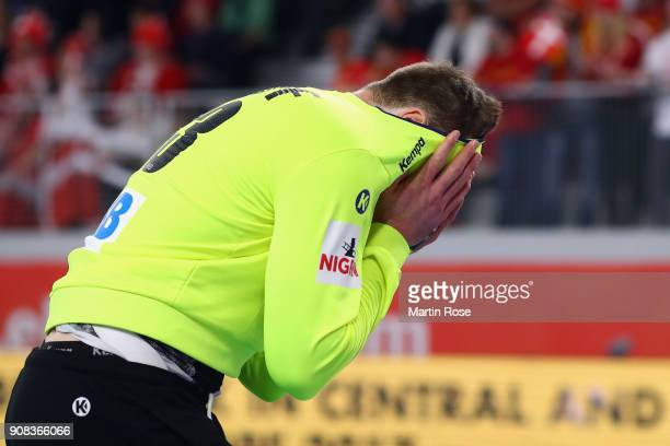 Goalkeeper Andreas Wolff of Germany reacts during the Men's Handball European Championship main round group 2 match between Germany and Denmark at...
