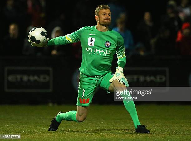 Goalkeeper Andrew Redmayne of City throws the ball during the FFA Cup match between Melbourne City and Sydney FC at Morshead Park Stadium on August...