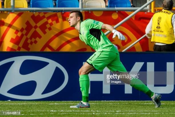 goalkeeper Andriy Lunin of Ukraine controls the ball during the 2019 FIFA U20 World Cup Semi Final match between Ukraine and Italy at Gdynia Stadium...
