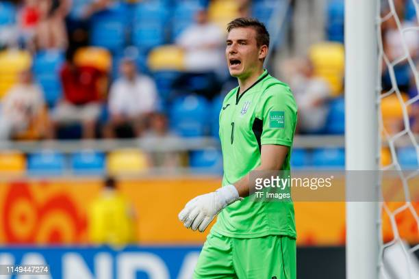 Goalkeeper Andriy Lunin of Ukraine gestures during the 2019 FIFA U-20 World Cup Semi Final match between Ukraine and Italy at Gdynia Stadium on June...