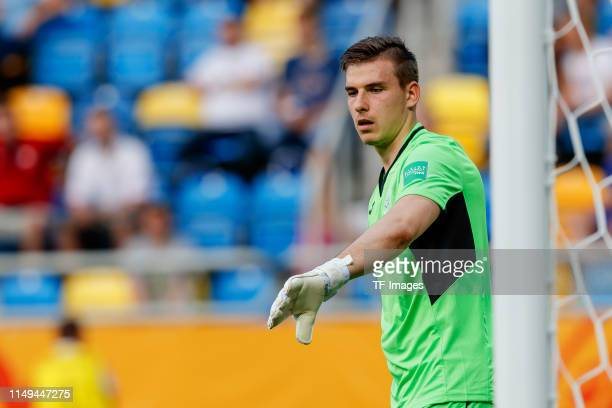 goalkeeper Andriy Lunin of Ukraine gestures during the 2019 FIFA U20 World Cup Semi Final match between Ukraine and Italy at Gdynia Stadium on June...