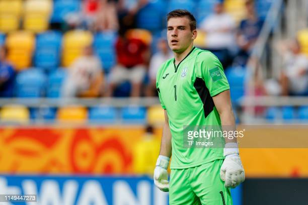 goalkeeper Andriy Lunin of Ukraine looks on during the 2019 FIFA U20 World Cup Semi Final match between Ukraine and Italy at Gdynia Stadium on June...