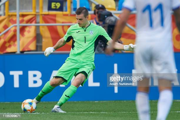 Goalkeeper Andriy Lunin of Ukraine U20 controls the ball during the 2019 FIFA U20 World Cup Semi Final match between Ukraine and Italy at Gdynia...