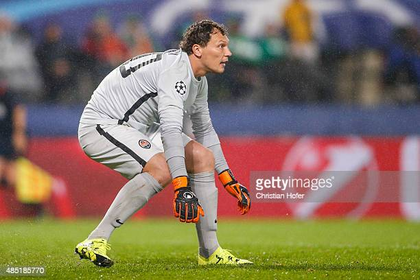 Goalkeeper Andriy Pyatov of Donetsk in action during the UEFA Champions League Qualifying Round Play Off First Leg match between SK Rapid Vienna and...