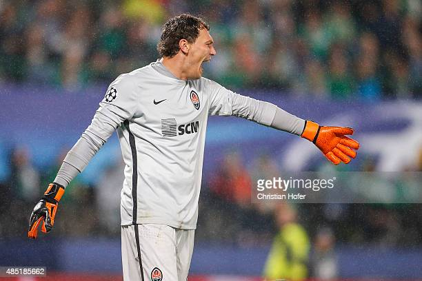 Goalkeeper Andriy Pyatov of Donetsk reacts during the UEFA Champions League Qualifying Round Play Off First Leg match between SK Rapid Vienna and FC...