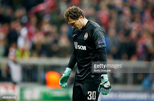 Goalkeeper Andriy Pyatov of Donetsk shows his frustration after losing the UEFA Champions League Round of 16 second leg match between FC Bayern...